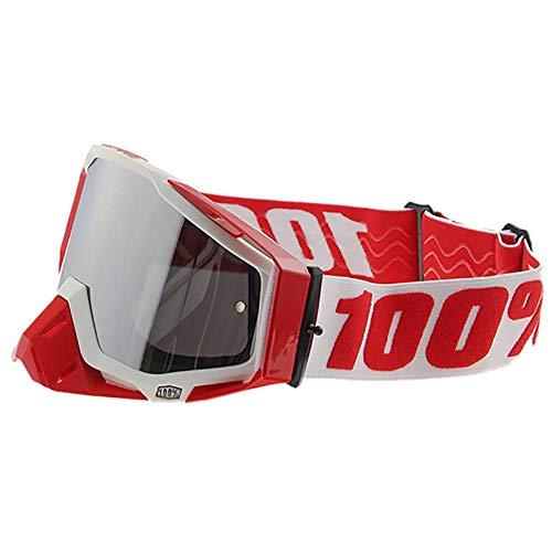 Gafas Moto Lente Plateada Multipropósito Antichoque Antiviento Protección UV Motocross Aviador Scooter Gafas Gafas para Casco Jet Casco,Redwhite