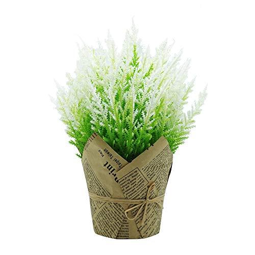 Oce180anYLVUK Flor Artificial 1pc Planta De Flor Artificial Maceta De Papel Bonsai Jardín De Bricolaje Decoración De Fiesta En Casa De La Boda Blanco