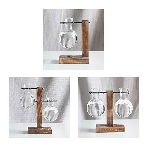 ZFRANC Hydroponic Vase Vintage Desktop Hanging Glass Libra Planter Bulb Vase with Retro Wooden Stand & Metal Swivel Holder for Plants Office Desk & Wedding Decor