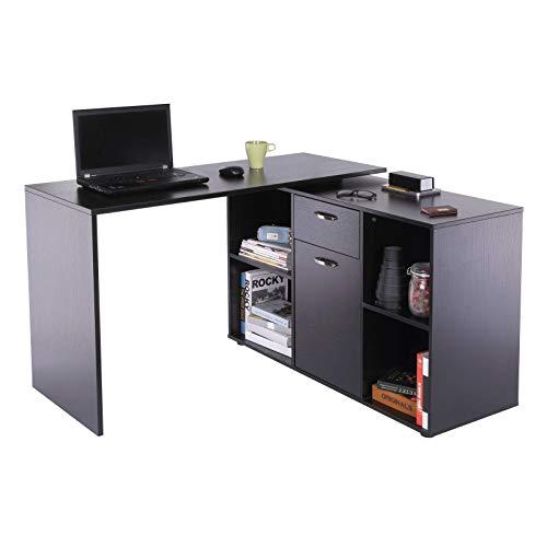 Yhjkvl Escritorio de computadora MDF ajustable en forma de L escritorio de computadora, 20Lx115Wx76H Cm-Negro mesa de oficina en casa