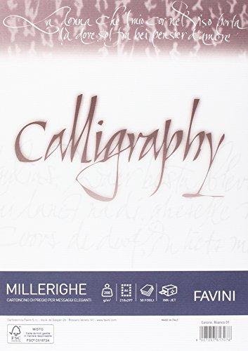 Favini A690324 Carta Calligraphy, Millerighe Rigato, 50 Pezzi
