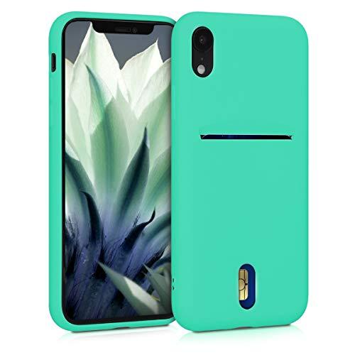 kwmobile Funda Compatible con Apple iPhone XR - Carcasa de Silicona con Tarjetero y Acabado de Goma - Menta
