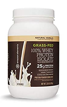 Amazon Elements Grass-Fed 100% Whey Protein Isolate Powder Natural Vanilla  2.05 lbs  30 Servings   Packaging may vary