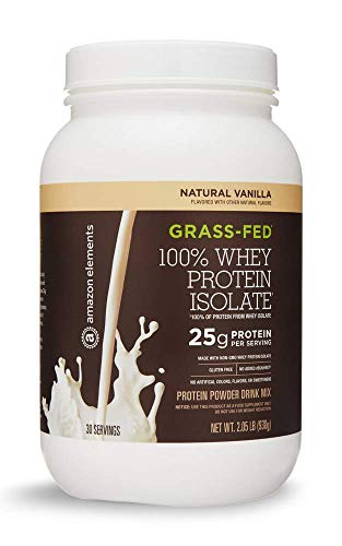 Amazon Elements Grass-Fed 100% Whey Protein Isolate Powder, Natural Vanilla , 2.05 lbs (30 Servings) (Packaging may vary)