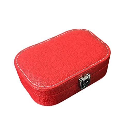 Wmeili Solid Color Faux Leather Travel Jewellery Boxes Small Storage Box Display Stand Storage Box Earring Necklace Birthday Gift Party Gift