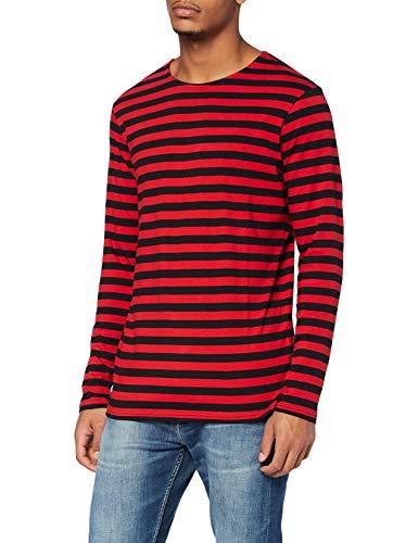 Urban Classics Regular Stripe LS T-Shirt, Firered/Blk, S Uomo