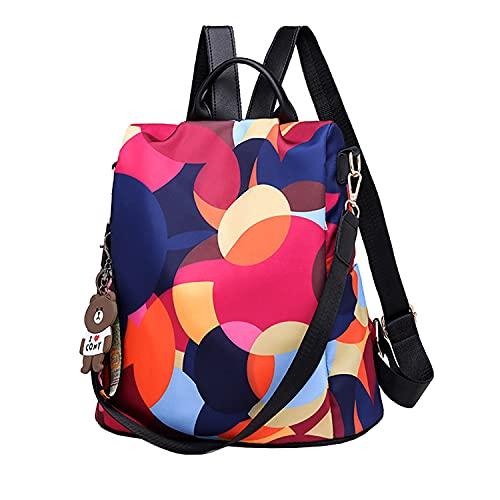 Wishliker Mujer Mochila Antirrobo Bolsa Tela Oxford Daypack Impermeable Casual Backpack Señoras,Circulo Rojo