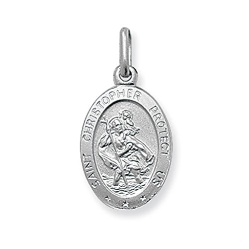 Per bambini di piccole dimensioni, in argento Sterling, con pendente ovale di San Cristoforo su una catenina barbazzale