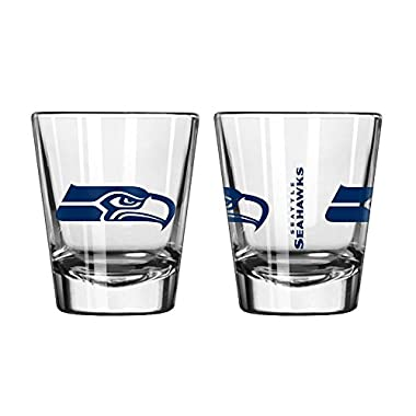 Official Fan Shop Authentic NFL Logo 2 oz Shot Glasses 2-Pack Bundle. Show Team Pride at home, your Bar or at the Tailgate. Gameday Shot Glasses for a goodnight (Seattle Seahawks)