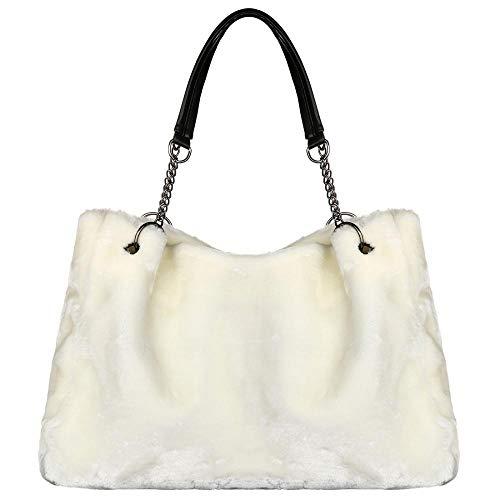 Große Kapazität Fuzzy Schultertasche für Damen, Hobo-Handtaschen, Fell-Handtaschen, Weiá (weiß), Einheitsgröße