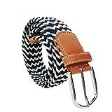 Irypulse Cintura intrecciata in tela treccia di Uomo Donna Tessuto lega di cuoio PU per Tessere Tela Moda Retro Elastico Cinture di tessitura in lega fibbia in pelle Unisex Cinture multicolore