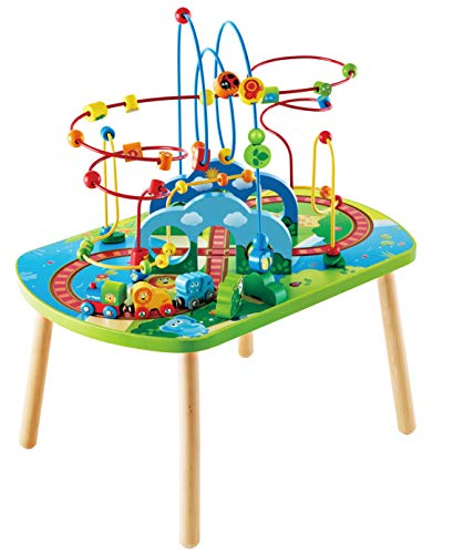 Hape Jungle Adventure Railway Table | Kids Bead Maze Puzzle Table with Accessories, African Scene Graphics, Child Sized Table for Individual and Group Play