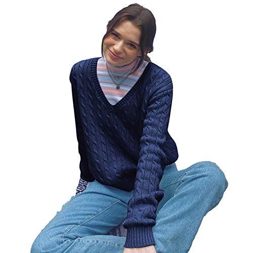 None/Brand Suéter de Mujer Cuello en V Color Sólido Delgado Manga Larga Pulóver de Punto Informal Camisa de Fondo Cálido Top