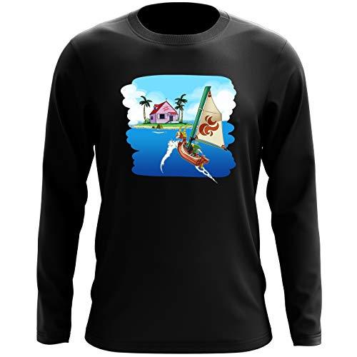 Okiwoki T-Shirt à Manches Longues Noir Dragon Ball Z - Zelda parodique La Kame House et Link : Une île Perdue. (Parodie Dragon Ball Z - Zelda)