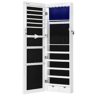 """SONGMICS 47.2"""" H Full Screen Mirror Jewelry Cabinet Armoire, 6 LEDs Jewelry Organizer Wall Hanging/Door Mounted, Larger Capacity, Pure White UJJC99WT"""