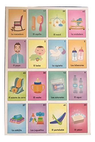 Emporion Loteria Mexicana Bingo for Baby Shower or Hen Party in Spanish Set of 10 Boards and 54 Cards
