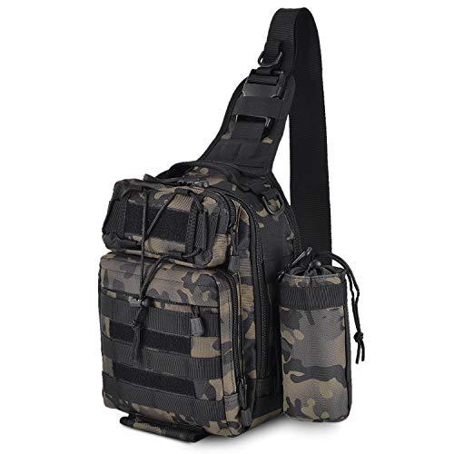 UBAYMAX Taktisch Brusttasche Militär Schulterrucksack, Mehrfunktional Wasserdicht Crossbody Bag Sporttaschen Schultertasche Sling Rucksack mit Wasserbecher Tasche für Trekking Wandern Angeln, Schwarz