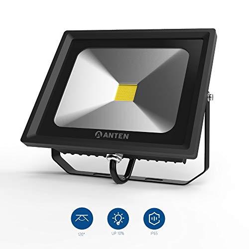 Anten LED Außenstrahler 50Watt mit 4000 Lumen in Kaltweiß(6000K) für Außenbeleuchtung, LED Außen Leuchte LED Fluter Strahler, Flutlicht IP65 Wasserdicht, Schwarz