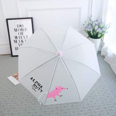 Milieubescherming Paraplu Rechte bar regen en Lange Handvat Automatische Paraplu, Transparante Paraplu met Fawn Patroon Multi-Color, Reizen Foto's Decoratie