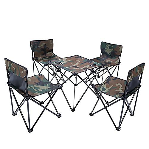 XL Campingstuhl Camouflage, 5er-Set, klappbar, komfortabel, Klappstuhl mit robustem Gestell, bis 120 kg belastbar, mit Flaschenhalter, Outdoor Stuhl für Zelten, Picknick, Wandern,Tarnen