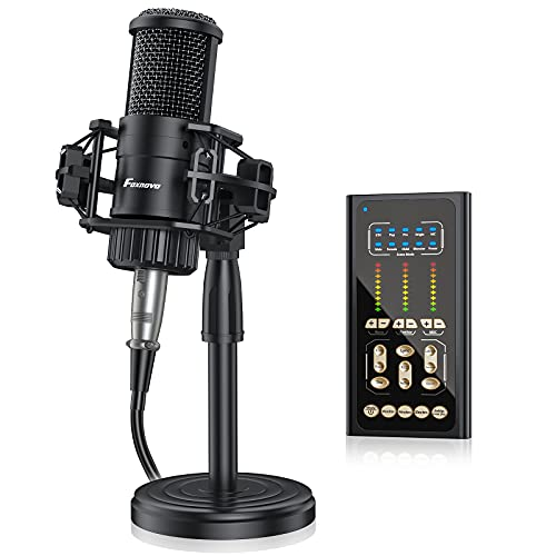 Condenser Microphone with Sound Card: FOXNOVO Podcast Mic Kit with 9 Sound Effects Voice Mixer Stand Earphone for Recording Podcasting Streaming Voice Over Gaming