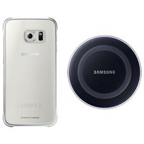 Starter Kit EP-WG920 WIRELESS Wireless Charger EP-PG920 Nero + Clear Cover per galaxy S6 G920 SM-G920