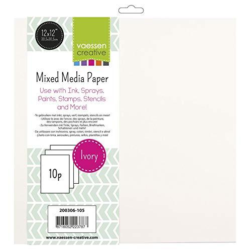 Vaessen Creative Mixed Media Elfenbeinpapier 10-Blatt-Satz für Nass- und Trockentechniken