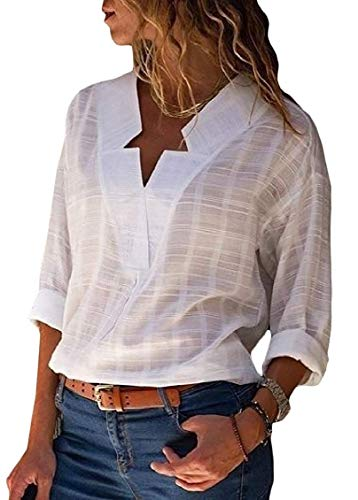 Womens Blouse Pure Colour V Neck Casual Long Sleeve T-shirt Top Tee