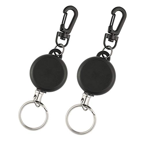 TUPARKA 2 Pieces Heavy Duty Retractable Key Chain Badge Reel Clips with 60cm/ 23.6 Inches Steel Wire Rope