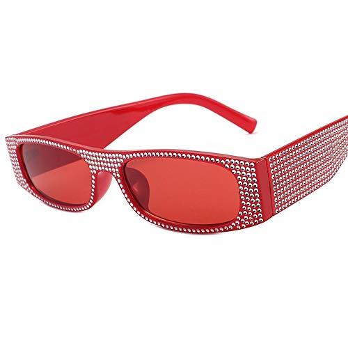 MOJINGYAN Gafas De Sol,Diamante De Imitación Gafas De Sol Mujer Diseñador Marca Strass Cuadradas Gafas De Sol Señoras Rectángulo Rojo Tonos Gafas
