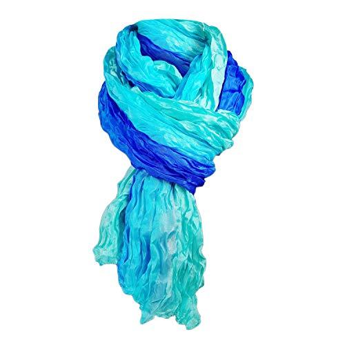 Japanwelt Seidentuch elegantes Damen Halstuch Crash-Schal 100% Seide silkroad 90 x 180 cm Verlauf Türkis Blau