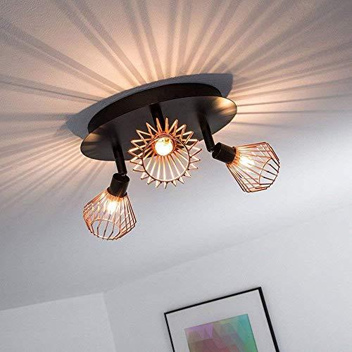 LED-BEAU Vintage soffitto riflettore retrò Industriale Rame Gabbia per Uccelli Cucina Loft Ufficio Ristorante,Nero
