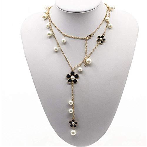 Popcorn Kette Frauen Luxus Simulierte Perle Fünf Blütenblatt Kristall Blume Aussage Lange Halskette schwarz