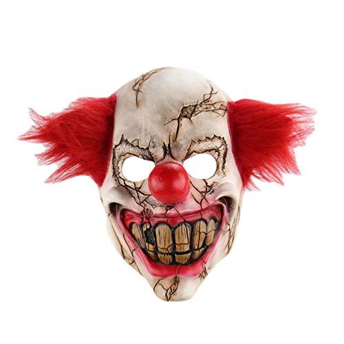 Xinwcanga Horror Ghost Clown Halloween Weihnachten Spaß Bar Tanz Requisiten Scary Maske Killer Clown mit Haar (Rot, One size)
