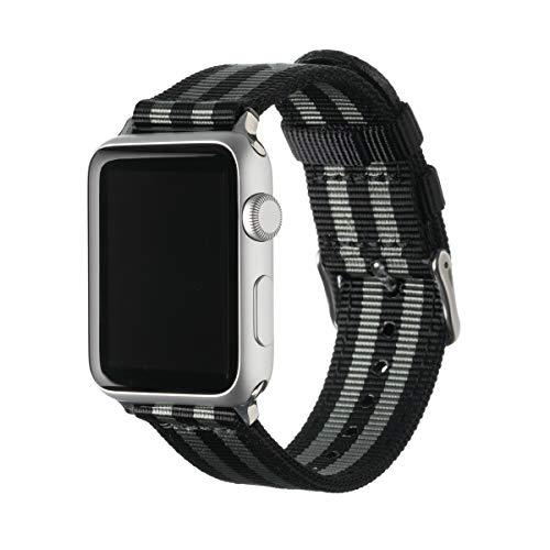 Archer Watch Straps - Nylon Uhrenarmband für Apple Watch - Schwarz und Grau (James Bond)/Edelstahl, 42/44mm