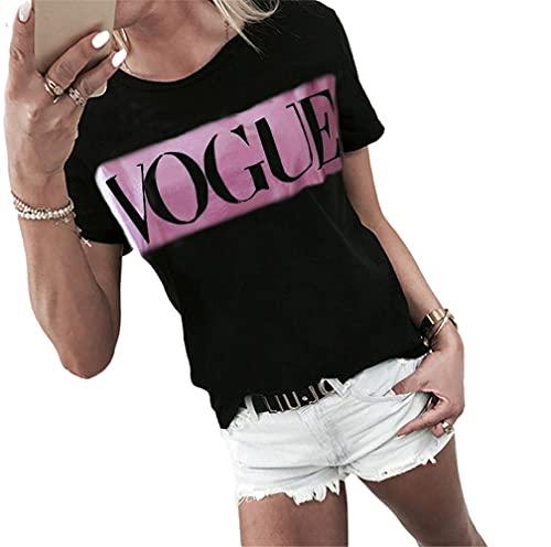 Camiseta Mujer Blusa Mujer Cómodo Casual Suelto Cuello Redondo Manga Corta Verano Moda Urbana Tendencia Impresión De Letras Elegante Chic Mujer Tops F-Black Pink XXL
