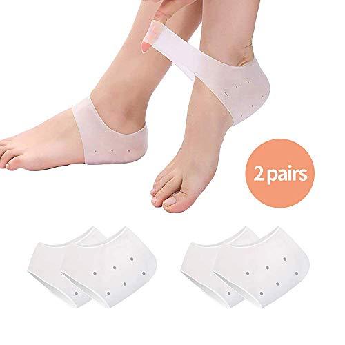 Silikon Gel Socken, Silikon Gel Ferse und Knöchelhülse für Plantar Fasciitis Gel Hülle Atmungsaktive Schutzferse Atmungsaktive Silikonhülle (2 Paare) (Transparent)