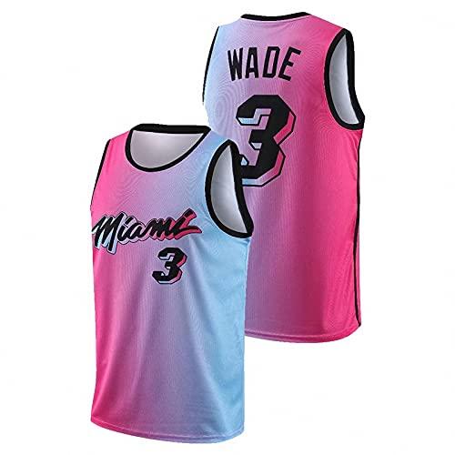 JFIOSD 2021 Hombre NBA Basketball Jersey,City Edition n#3 Wade Ropa de Baloncesto,Camisetas Al Aire Libre Casual Mujer Redondo CháNdales,Natural,XXL
