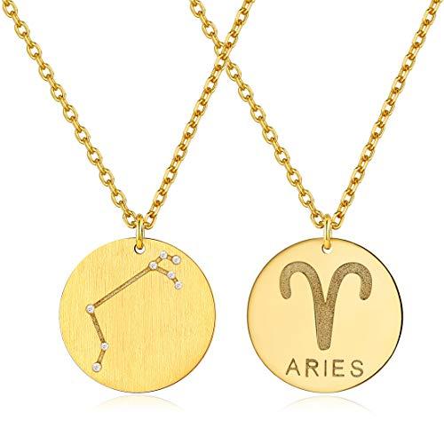 Dorado Aries Zodiacos Joyería para Hombre y Mujer de Buen Regalo Medallas Circulares Monedas Globo
