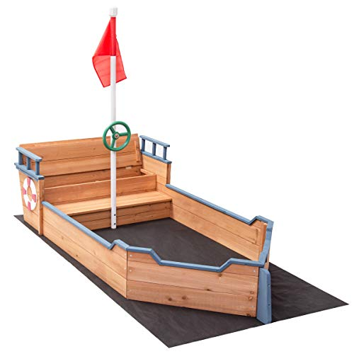 Costzon Pirate Boat Wood Sandbox for Kids with Bench Seat and Flag, Pirate Sandboat