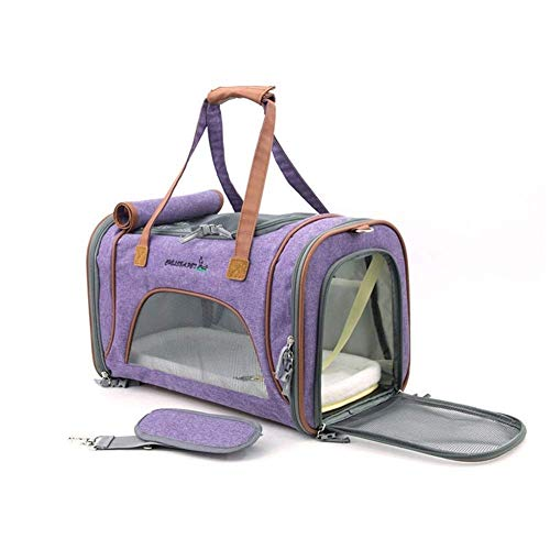 LIYONG Pet Large Top Opening Pet Carriers for Small Dog Airline Approved Soft Cat Travel Bags Connect to Car Luggage for Going Out (Color : Purple, Size : 65X185 cm) HLSJ