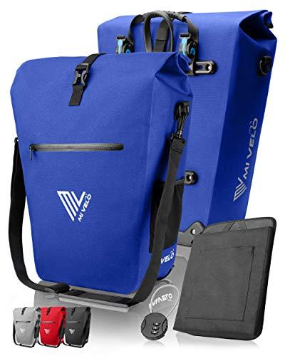 MIVELO Fahrradtasche Gepäckträgertasche wasserdicht 100% PVC frei + Laptopfach + Schloss + Schultergurt – Fahrrad Tasche für Gepäckträger 1 STK (Blau, 25L)