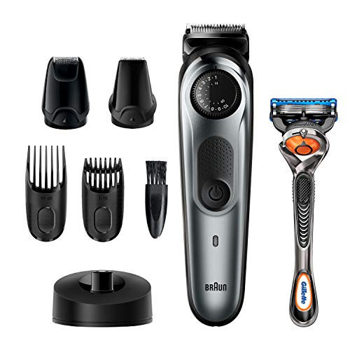 Braun Beard Trimmer BT7240, Hair Clippers for Men, Cordless & Rechargeable, Detail Trimmer, Mini Foil Shaver with Gillette ProGlide Razor, Black/Silver Metal