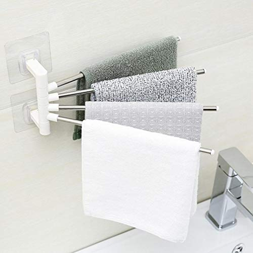 FLYNGO Stainless Steel 4 Bar Towel Rack for Bathroom Towel Holder for Kitchen Towel Hanger Stand for Wash Basin - Self Adhesive
