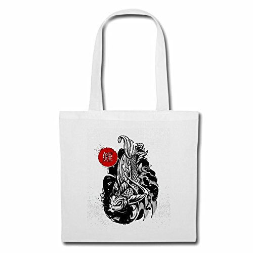 Tasche Umhängetasche JAPANISCHER KOI Karpfen KOIZUCHT ZIERFISCH Aquarium Einkaufstasche Schulbeutel Turnbeutel in Weiß