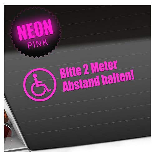 Kiwistar Rollstuhl - 2m Abstand halten 20 x 6 cm IN 15 Farben - Neon + Chrom! Sticker Aufkleber