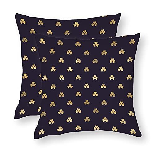 Funda de almohada para mamá y papá Shamrock, fundas de cojín de color morado profundo y dorado, fundas de almohada, fundas de cojín de algodón, funda de cojín para sofá cama