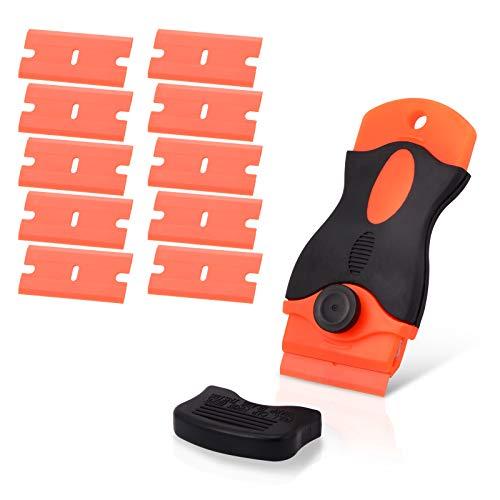 Ehdis Raspador de plástic con 10 Piezas Cuchillas de plástic, para Quitar Etiquetas Engomadas Vinilo Pegatinas y Pegamento, Limpiador para Placa de Inducción y Vitrocerámica