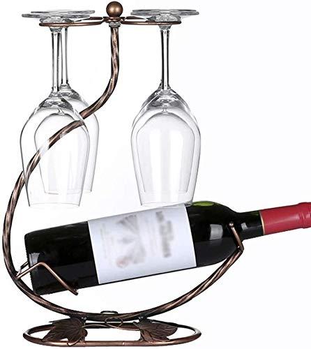HJXSXHZ366 Estantería de Vino Titular de la Bebida Creativa de Cristal del Soporte del Contador autónomo for la Copa con Pantalla de Bronce con 6 Ganchos Estante de Vino pequeño