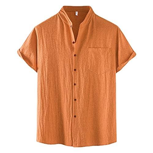 Camisa Hombre Verano Moda Color Sólido Hombre Casuales Camisa Botón Placket Manga Corta Tradicional Camisa...